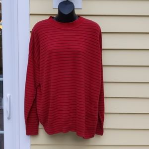 BURBERRY'S Red and Gray Striped Vintage Sweater